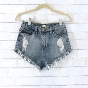 Pants - Mid-High Rise Shorts - Denim Shorts